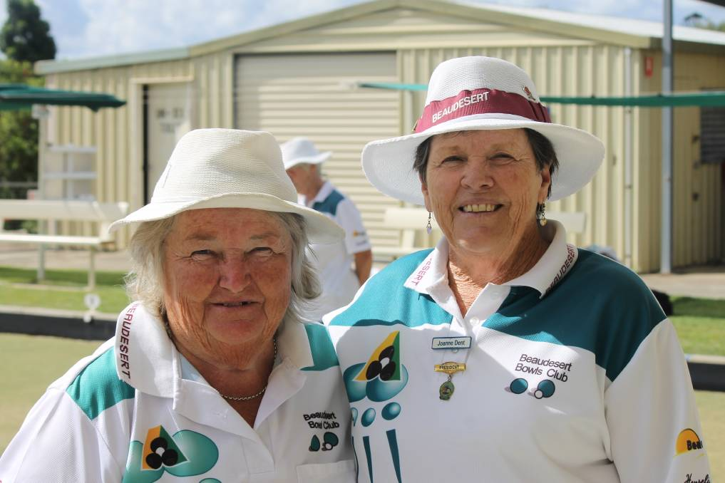 LADIES SINGLES: Winner Bev Bryan and runner-up Joanne Dent at Beaudesert Bowls Club after playing the ladies singles final. Photo: Larraine Sathicq