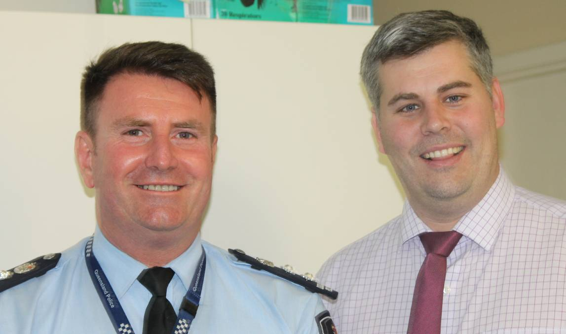 POLICE: Chief Superintendent Ben Marcus and Police Minister Mark Ryan at Beaudesert Police Station in August last year. Photo: Larraine Sathicq