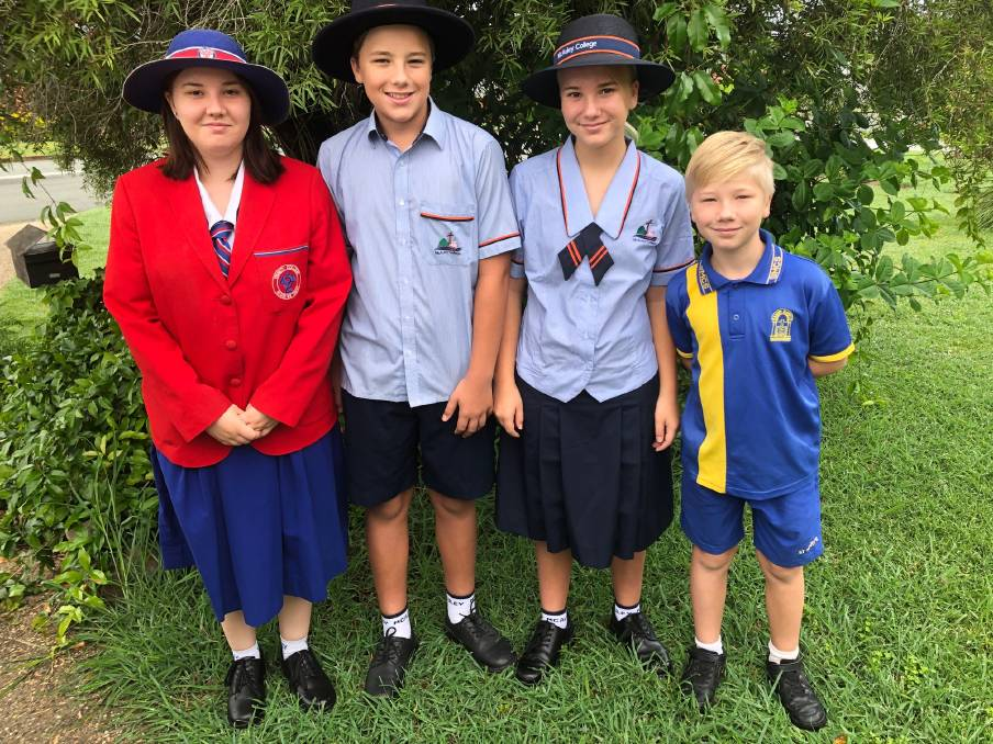 HONOURED: Lily McArthur from Trinity Catholic School with siblings Tobias and Beatrice from McAuley College and 9-year-old brother Ezra, who goes to St Mary's. Photo: Supplied