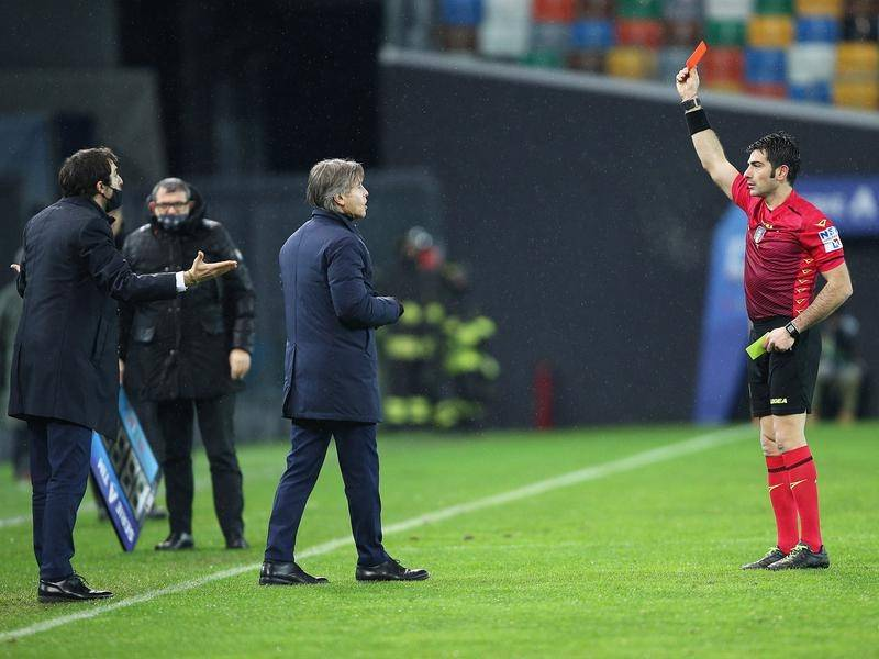 Inter Milan's coach Antonio Conte was shown a red card during the match against Udinese Calcio.